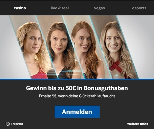 Betway Casino Gewinn bis zu €50