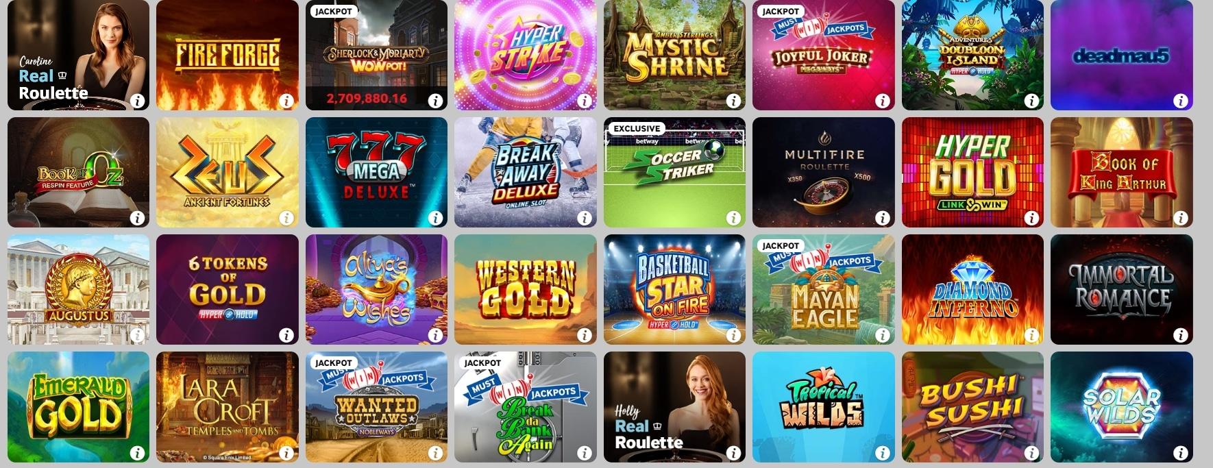 Betway Casino Übersicht Spiele