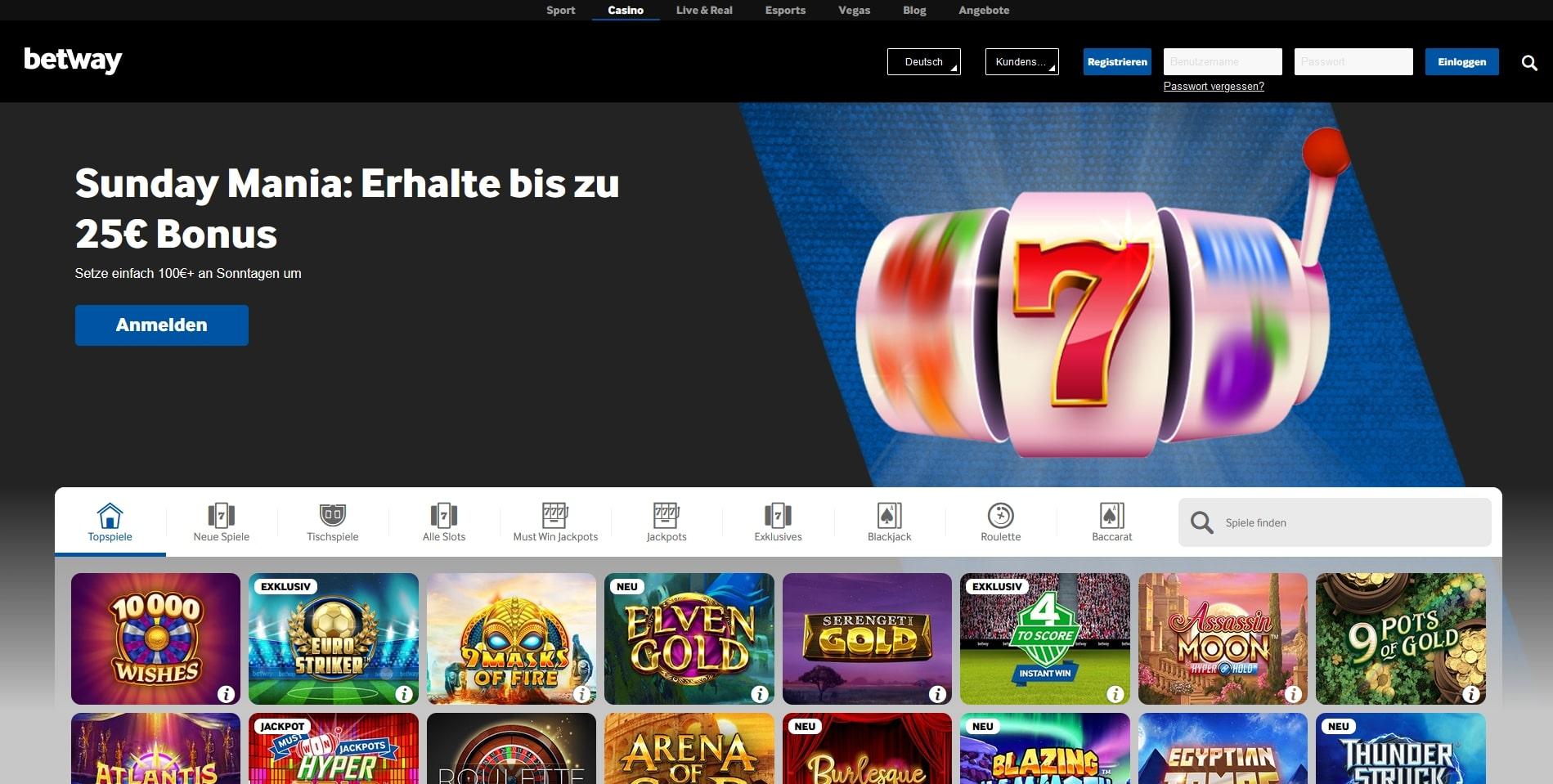 Betway Casino Übersicht Startseite